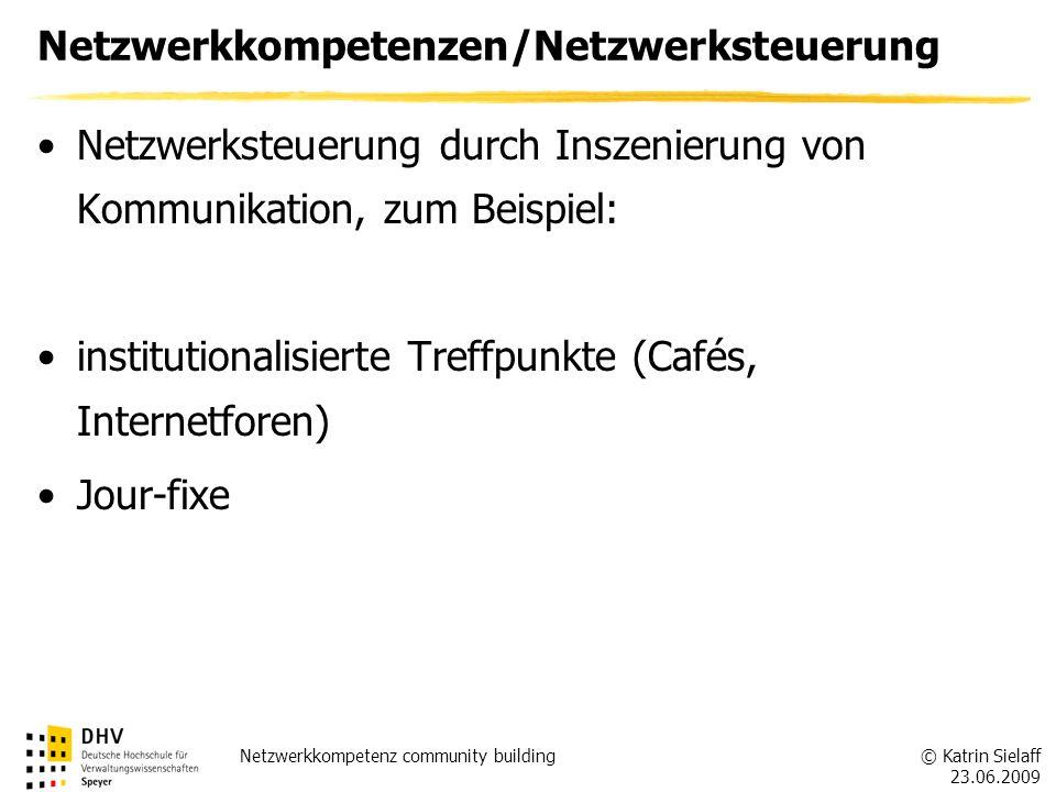 © Katrin Sielaff 23.06.2009 Netzwerkkompetenz community building Netzwerkkompetenzen/Netzwerksteuerung Netzwerksteuerung durch Inszenierung von Kommun