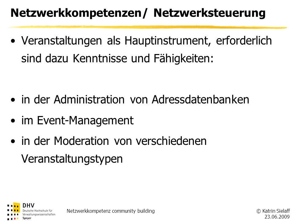 © Katrin Sielaff 23.06.2009 Netzwerkkompetenz community building Netzwerkkompetenzen/ Netzwerksteuerung Veranstaltungen als Hauptinstrument, erforderl