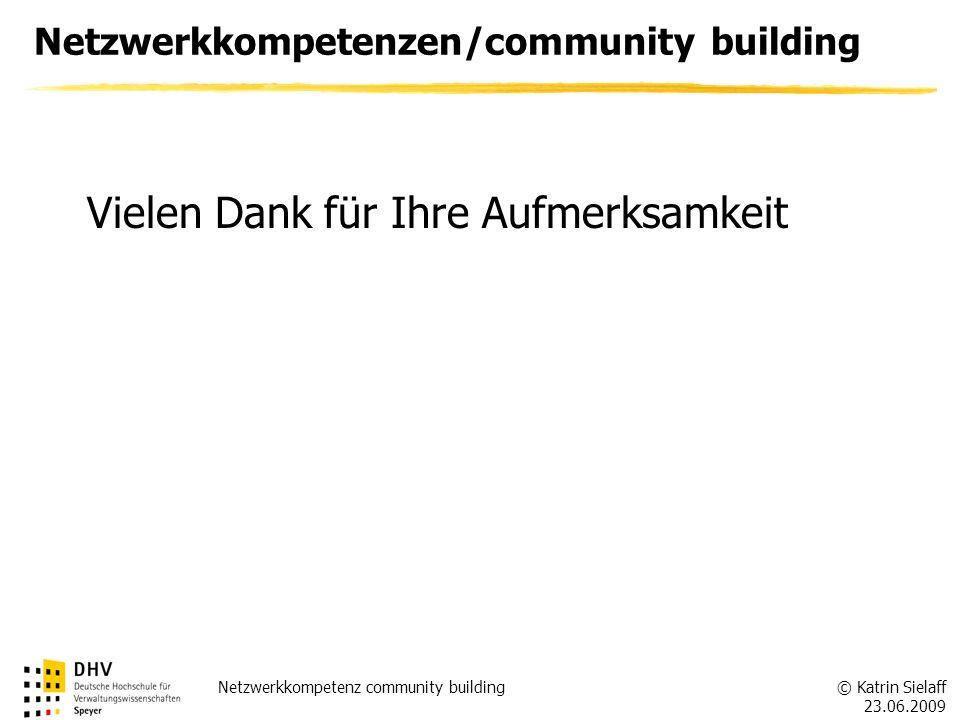 © Katrin Sielaff 23.06.2009 Netzwerkkompetenz community building Netzwerkkompetenzen/community building Vielen Dank für Ihre Aufmerksamkeit