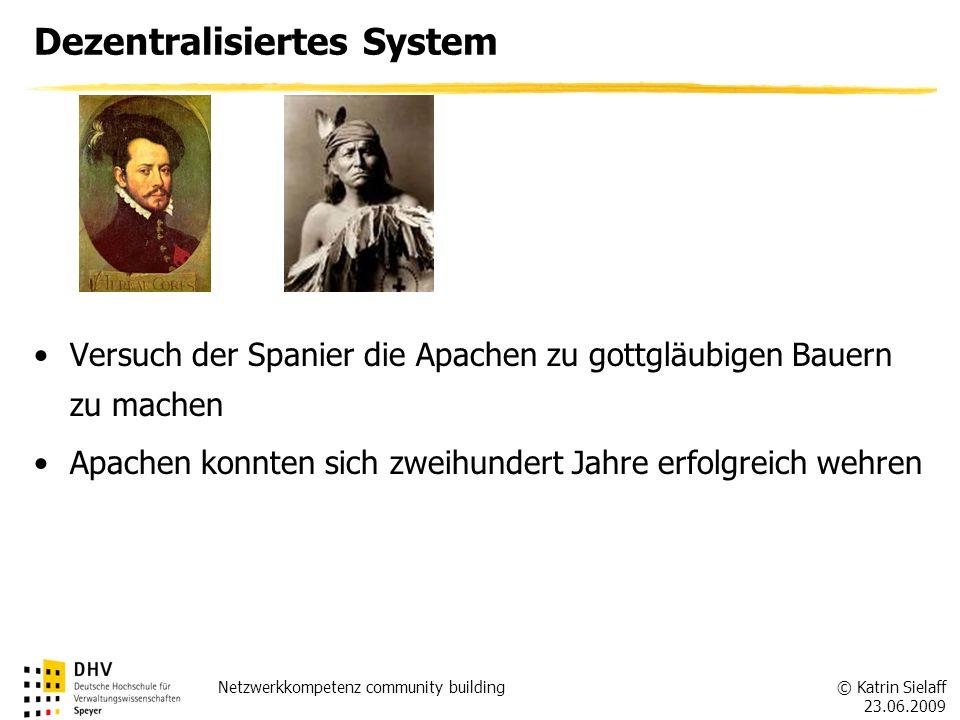 © Katrin Sielaff 23.06.2009 Netzwerkkompetenz community building Dezentralisiertes System Versuch der Spanier die Apachen zu gottgläubigen Bauern zu m