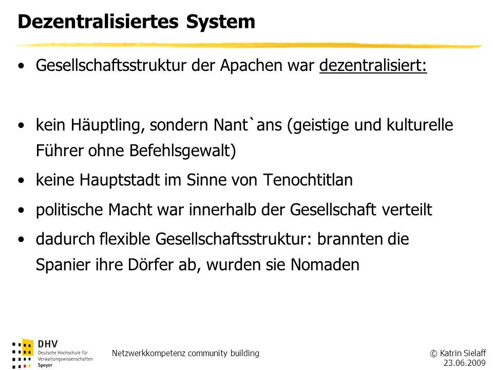 © Katrin Sielaff 23.06.2009 Netzwerkkompetenz community building Dezentralisiertes System Gesellschaftsstruktur der Apachen war dezentralisiert: kein