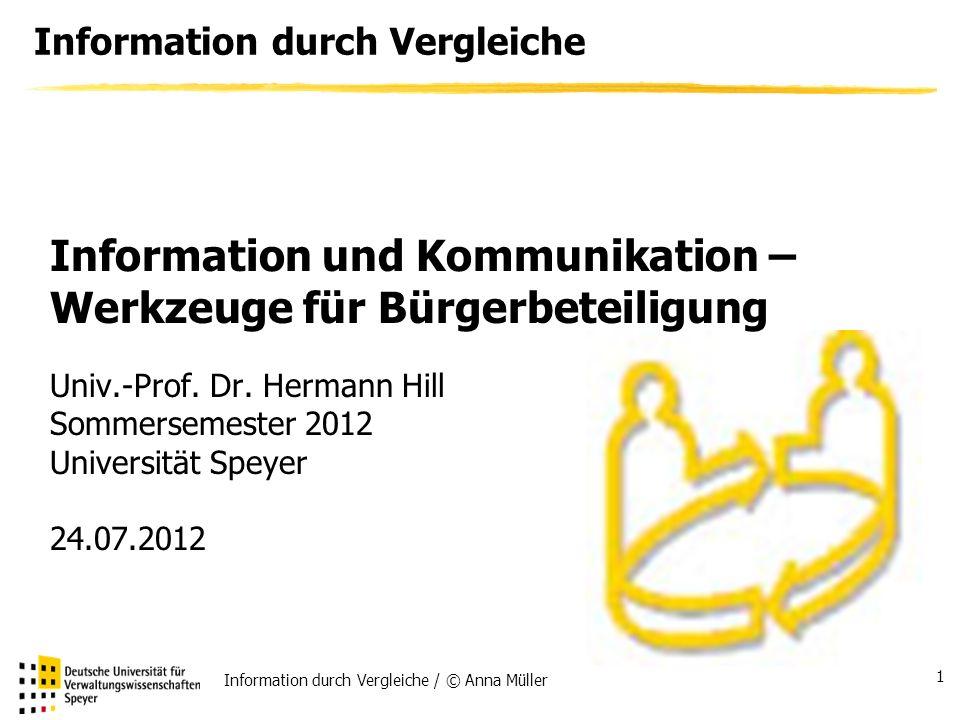 Information durch Vergleiche / © Anna Müller 1 Information durch Vergleiche Univ.-Prof.