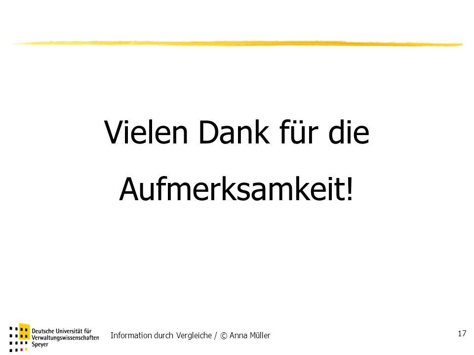 Information durch Vergleiche / © Anna Müller 17 Vielen Dank für die Aufmerksamkeit!