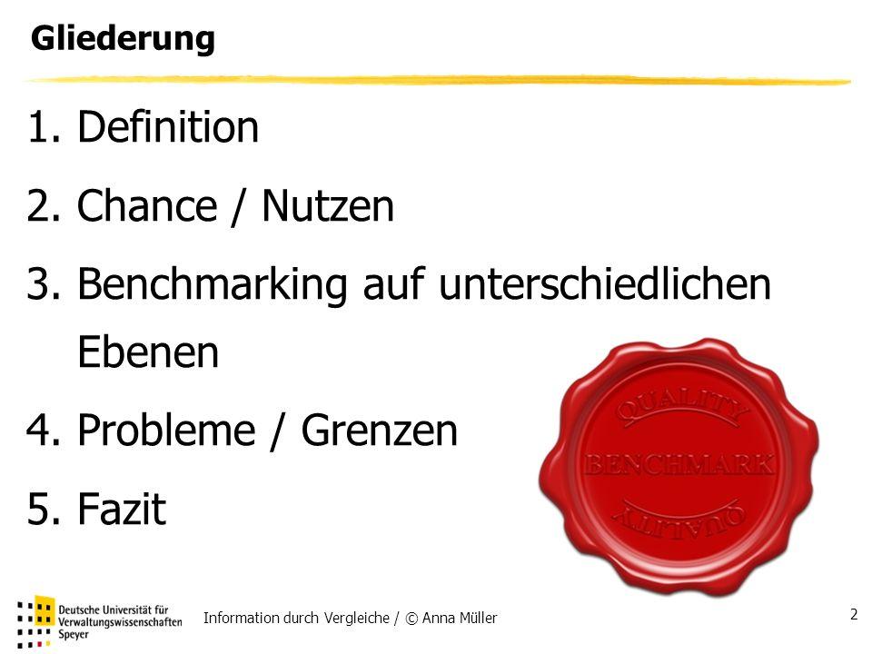 Information durch Vergleiche / © Anna Müller 2 Gliederung 1.Definition 2.Chance / Nutzen 3.Benchmarking auf unterschiedlichen Ebenen 4.Probleme / Grenzen 5.Fazit