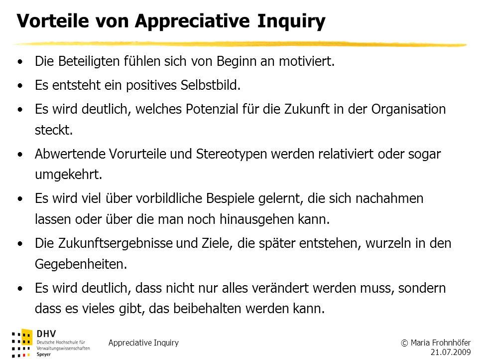 © Maria Frohnhöfer 21.07.2009 Appreciative Inquiry Vorteile von Appreciative Inquiry Die Beteiligten fühlen sich von Beginn an motiviert. Es entsteht