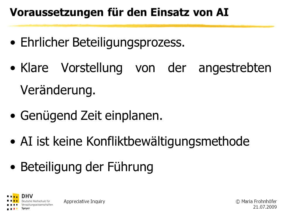 © Maria Frohnhöfer 21.07.2009 Appreciative Inquiry Voraussetzungen für den Einsatz von AI Ehrlicher Beteiligungsprozess. Klare Vorstellung von der ang