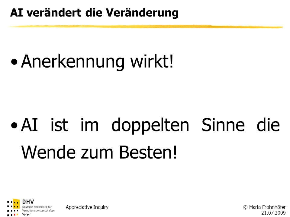 © Maria Frohnhöfer 21.07.2009 Appreciative Inquiry AI verändert die Veränderung Anerkennung wirkt! AI ist im doppelten Sinne die Wende zum Besten!