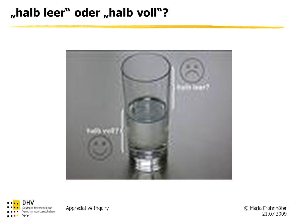 © Maria Frohnhöfer 21.07.2009 Appreciative Inquiry halb leer oder halb voll?
