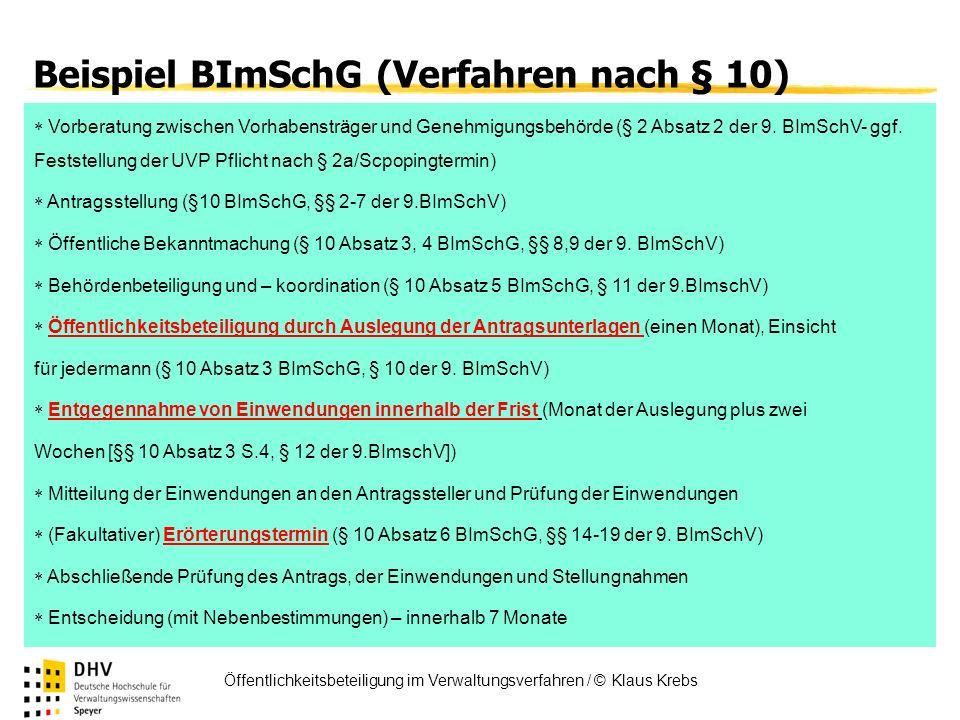 FÖV Öffentlichkeitsbeteiligung im Verwaltungsverfahren / © Klaus Krebs Beispiel BImSchG (Verfahren nach § 10) Vorberatung zwischen Vorhabensträger und
