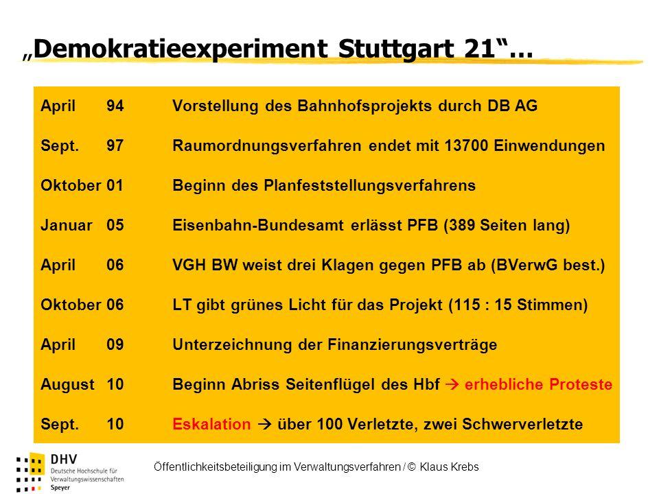 FÖV Öffentlichkeitsbeteiligung im Verwaltungsverfahren / © Klaus Krebs Demokratieexperiment Stuttgart 21… April 94Vorstellung des Bahnhofsprojekts dur