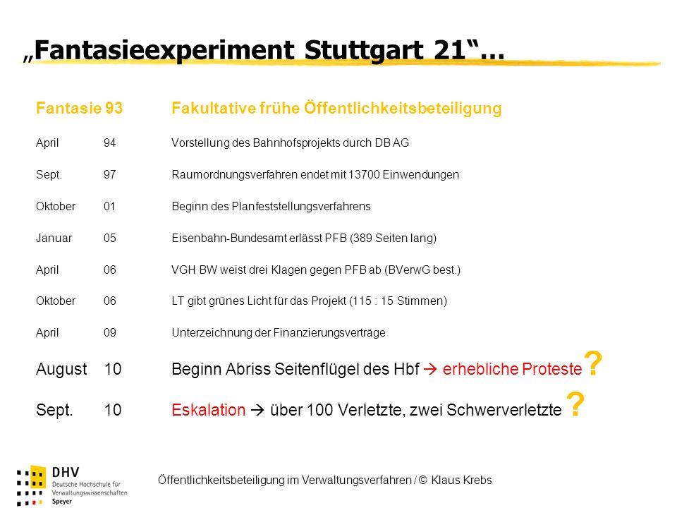 FÖV Öffentlichkeitsbeteiligung im Verwaltungsverfahren / © Klaus Krebs Fantasieexperiment Stuttgart 21… Fantasie 93Fakultative frühe Öffentlichkeitsbe