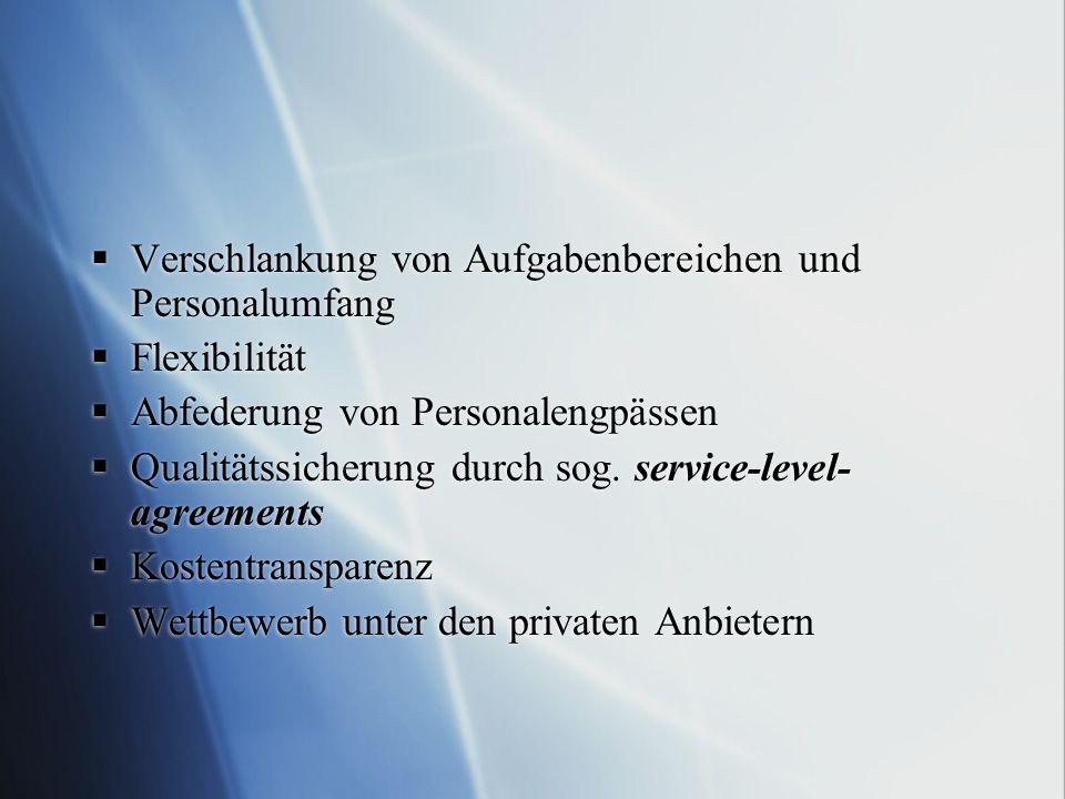 Verschlankung von Aufgabenbereichen und Personalumfang Flexibilität Abfederung von Personalengpässen Qualitätssicherung durch sog. service-level- agre