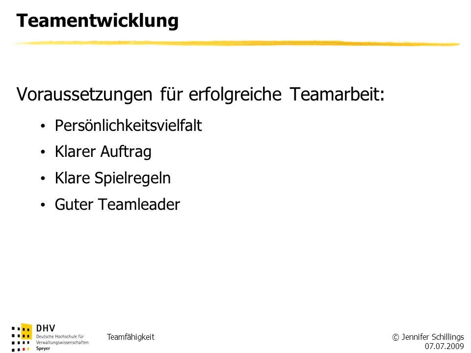 © Jennifer Schillings 07.07.2009 Teamfähigkeit Teamentwicklung Voraussetzungen für erfolgreiche Teamarbeit: Persönlichkeitsvielfalt Klarer Auftrag Klare Spielregeln Guter Teamleader
