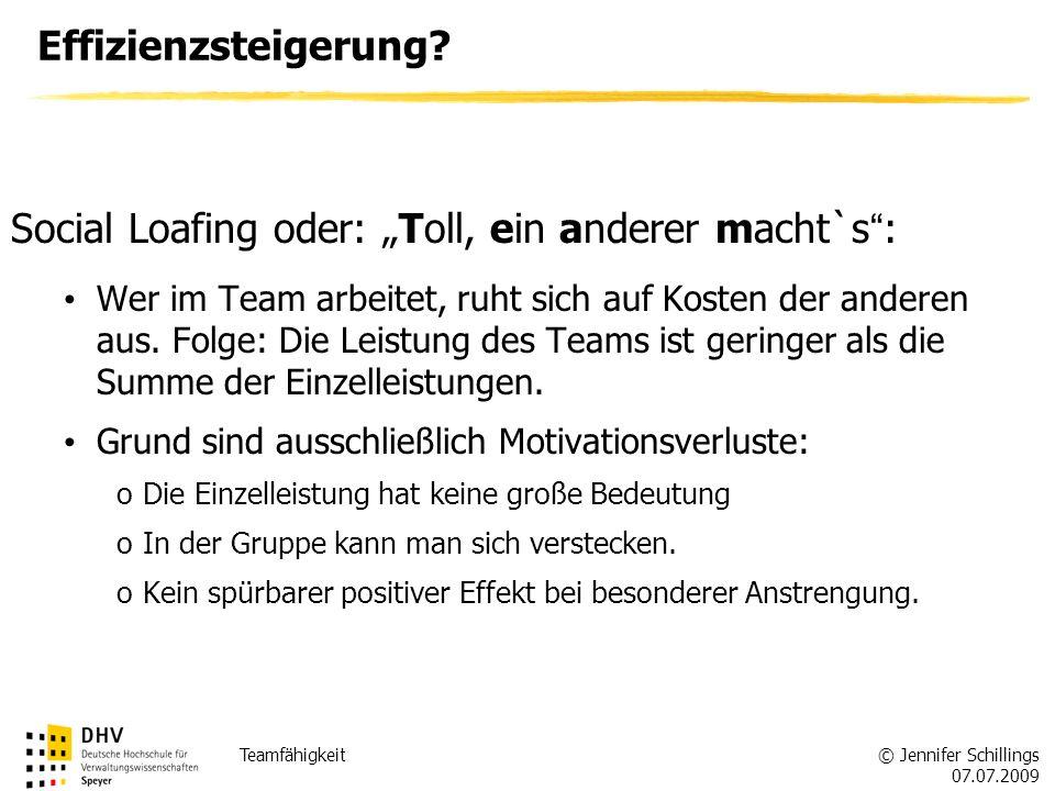 © Jennifer Schillings 07.07.2009 Teamfähigkeit Effizienzsteigerung.