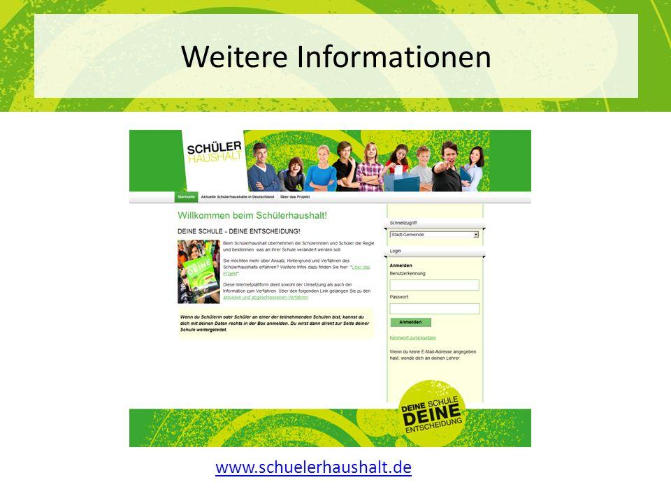 www.schuelerhaushalt.de Weitere Informationen