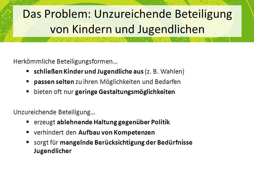 Das Problem: Unzureichende Beteiligung von Kindern und Jugendlichen Herkömmliche Beteiligungsformen… schließen Kinder und Jugendliche aus (z. B. Wahle