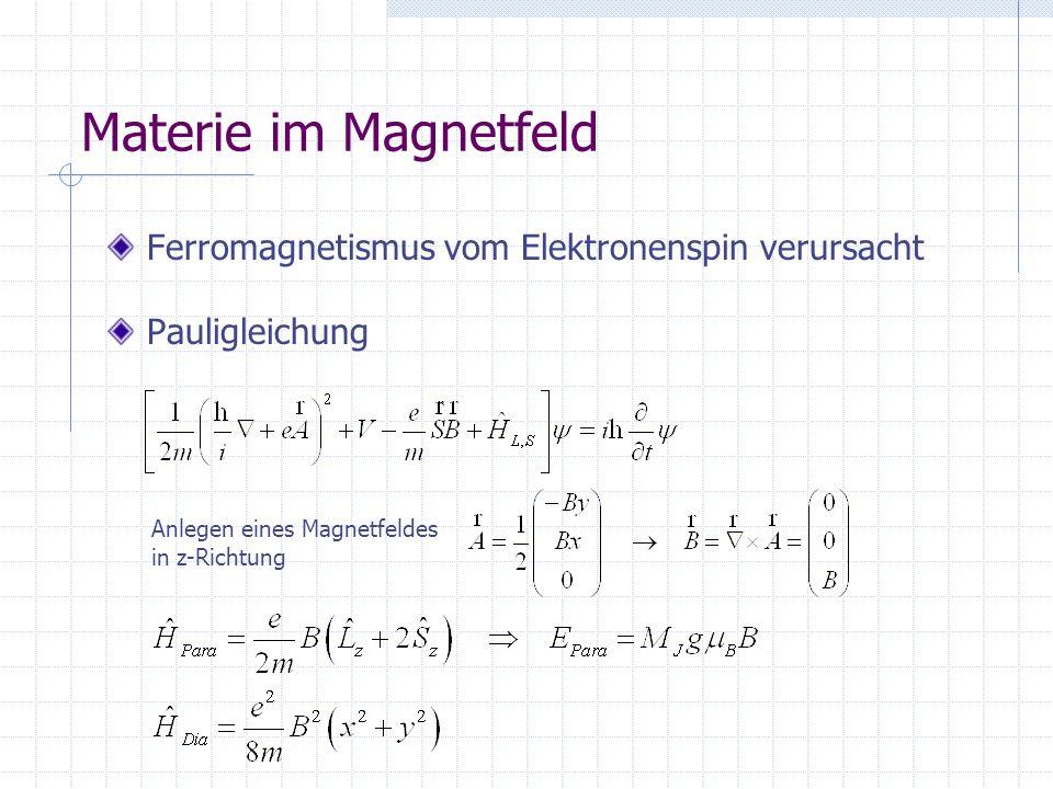 Materie im Magnetfeld Ferromagnetismus vom Elektronenspin verursacht Pauligleichung Anlegen eines Magnetfeldes in z-Richtung