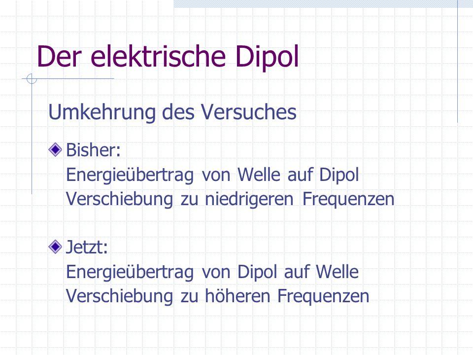 Der elektrische Dipol Umkehrung des Versuches Bisher: Energieübertrag von Welle auf Dipol Verschiebung zu niedrigeren Frequenzen Jetzt: Energieübertra