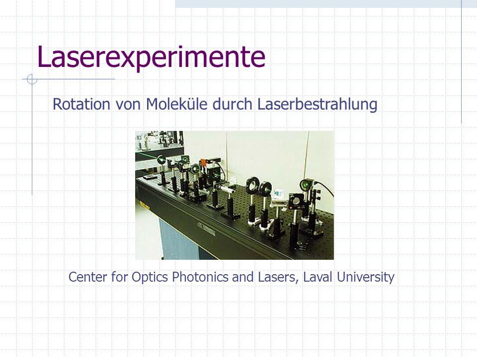 Laserexperimente Rotation von Moleküle durch Laserbestrahlung Center for Optics Photonics and Lasers, Laval University