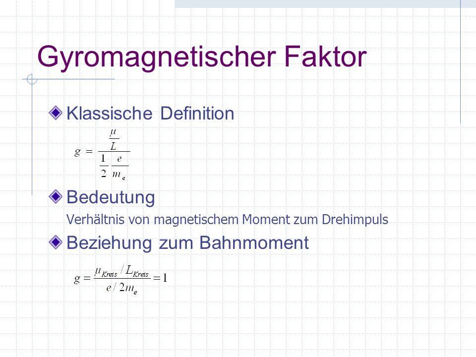 Gyromagnetischer Faktor Klassische Definition Bedeutung Verhältnis von magnetischem Moment zum Drehimpuls Beziehung zum Bahnmoment