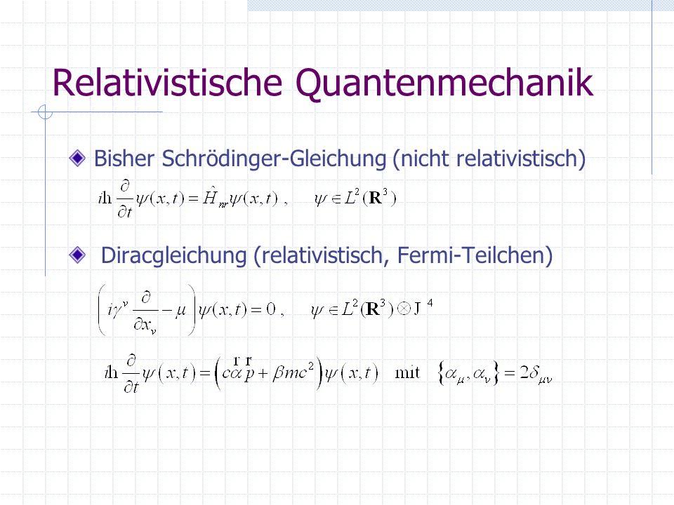 Relativistische Quantenmechanik Bisher Schrödinger-Gleichung (nicht relativistisch) Diracgleichung (relativistisch, Fermi-Teilchen)