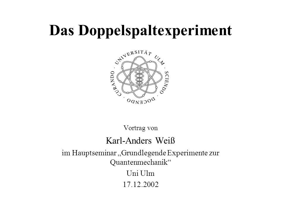 Das Doppelspaltexperiment; Karl-Anders Weiß Uni Ulm 17.12.2002 32 Beugungsaufnahme an 3 Spalten unterschiedlicher Breite Breitenverteilung der Spalte: 2 : 1 : 2