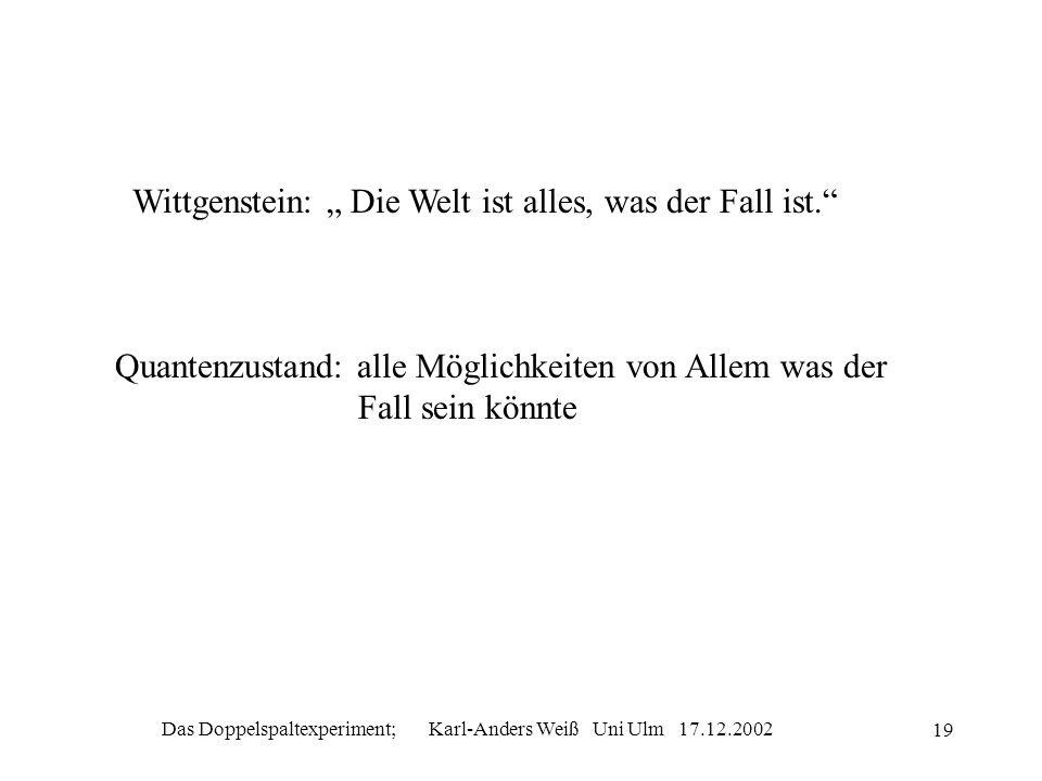 Das Doppelspaltexperiment; Karl-Anders Weiß Uni Ulm 17.12.2002 19 Wittgenstein: Die Welt ist alles, was der Fall ist. Quantenzustand: alle Möglichkeit
