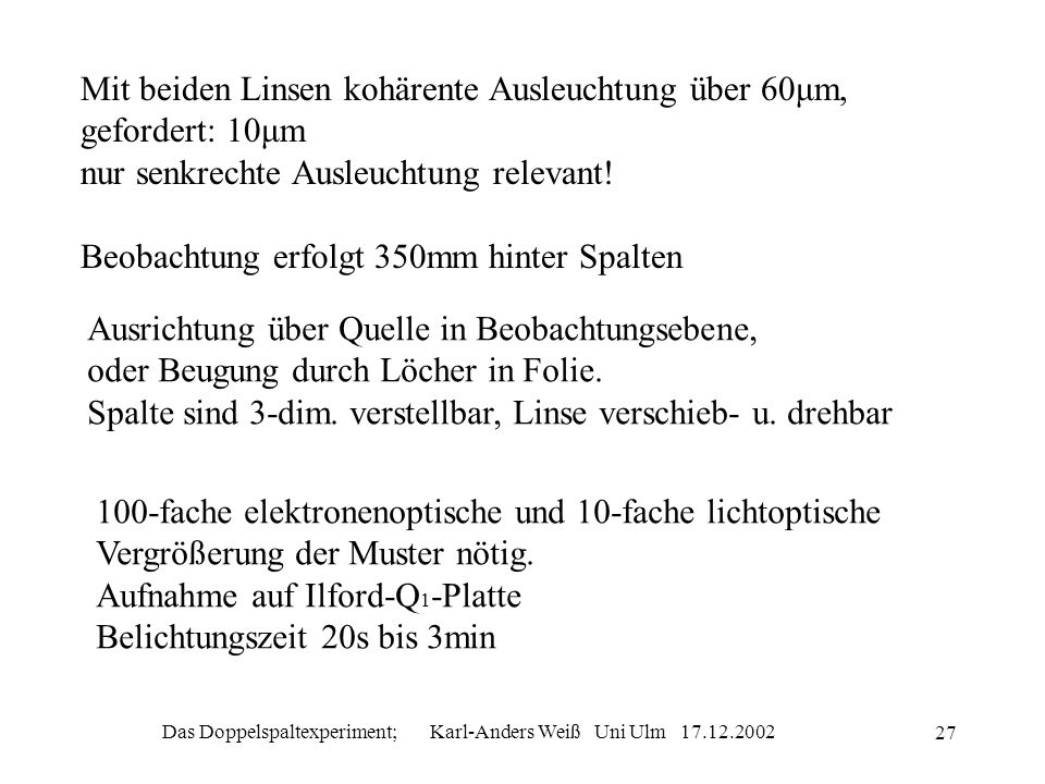 Das Doppelspaltexperiment; Karl-Anders Weiß Uni Ulm 17.12.2002 27 Mit beiden Linsen kohärente Ausleuchtung über 60μm, gefordert: 10μm nur senkrechte A