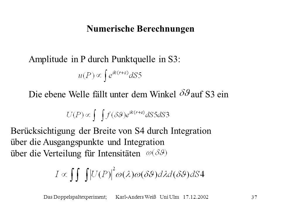 Das Doppelspaltexperiment; Karl-Anders Weiß Uni Ulm 17.12.2002 37 Numerische Berechnungen Amplitude in P durch Punktquelle in S3: Die ebene Welle fäll