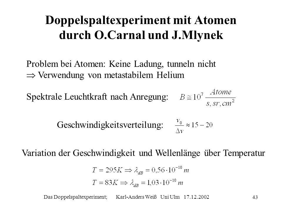 Das Doppelspaltexperiment; Karl-Anders Weiß Uni Ulm 17.12.2002 43 Doppelspaltexperiment mit Atomen durch O.Carnal und J.Mlynek Problem bei Atomen: Kei