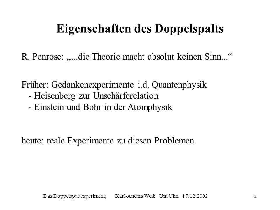 Das Doppelspaltexperiment; Karl-Anders Weiß Uni Ulm 17.12.2002 7 Der Doppelspalt mit einem Teilchen Fig 1 Zustand der Neutronen am Doppelspalt: ( passiert durch Spalt a>+ passiert durch Spalt b>) Muster ist Überlagerung von Wahrscheinlichkeitsamplituden Weg zu entweder durch 1 mit oder durch 2 mit