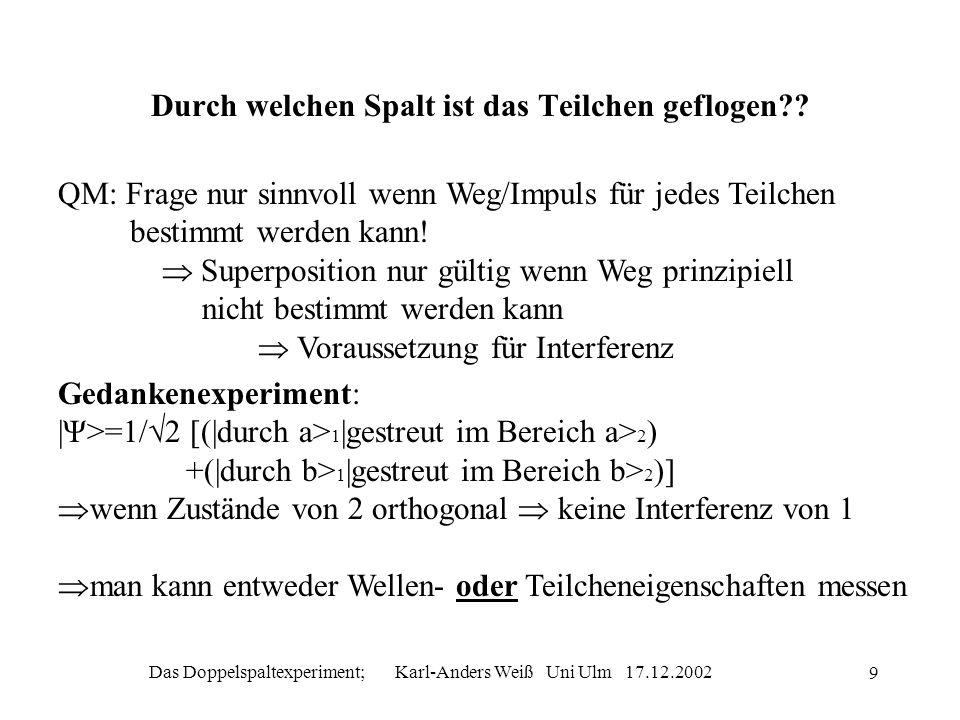 Das Doppelspaltexperiment; Karl-Anders Weiß Uni Ulm 17.12.2002 9 Durch welchen Spalt ist das Teilchen geflogen?? QM: Frage nur sinnvoll wenn Weg/Impul