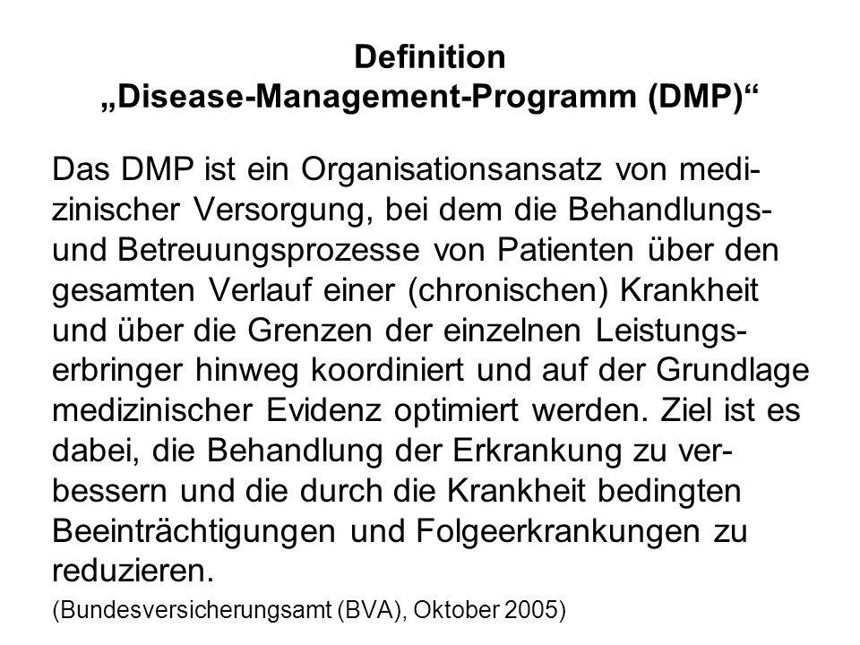 Definition Disease-Management-Programm (DMP) Das DMP ist ein Organisationsansatz von medi- zinischer Versorgung, bei dem die Behandlungs- und Betreuun