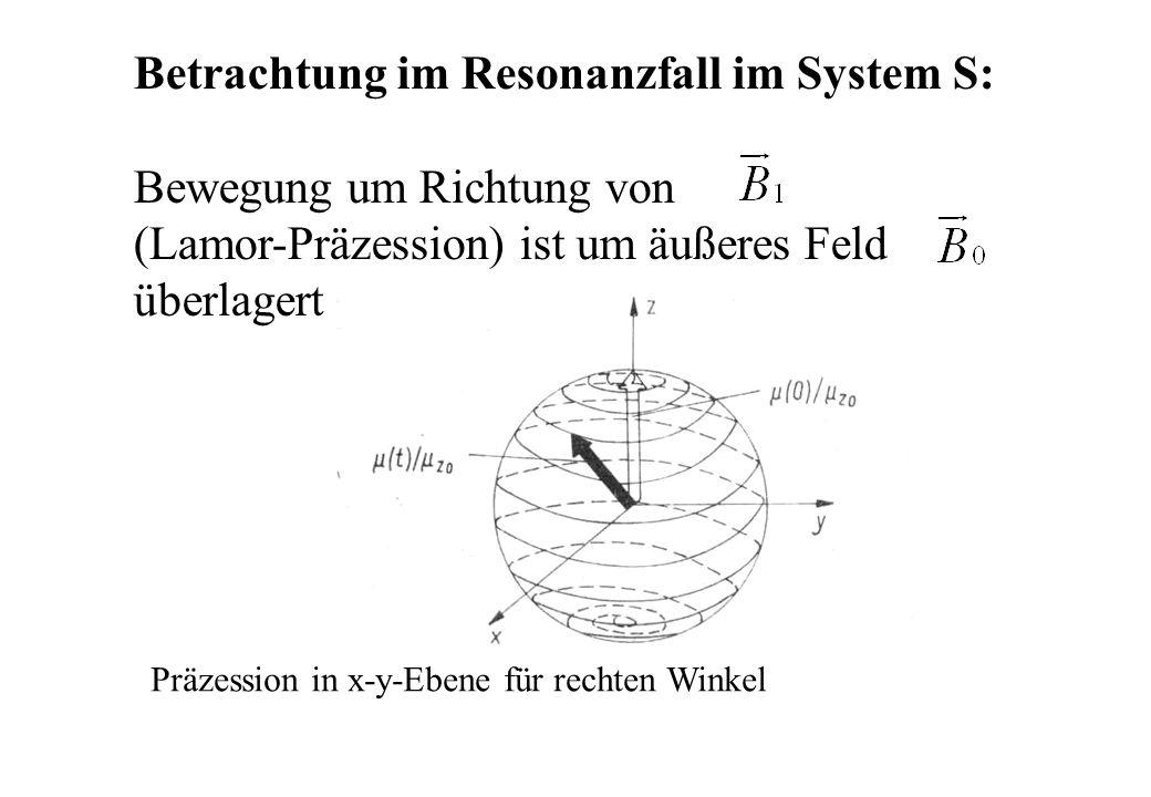 Betrachtung im Resonanzfall im System S: Bewegung um Richtung von (Lamor-Präzession) ist um äußeres Feld überlagert Präzession in x-y-Ebene für rechte