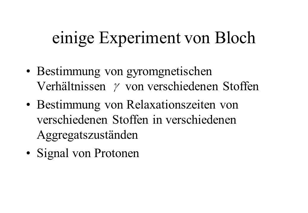 einige Experiment von Bloch Bestimmung von gyromgnetischen Verhältnissen von verschiedenen Stoffen Bestimmung von Relaxationszeiten von verschiedenen
