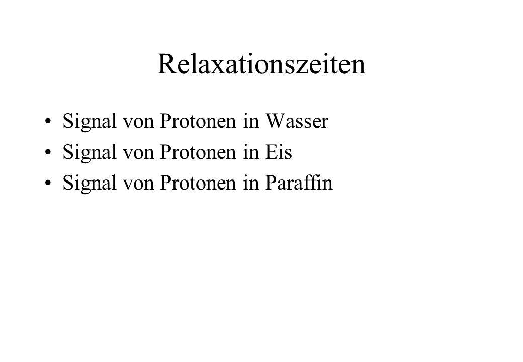 Relaxationszeiten Signal von Protonen in Wasser Signal von Protonen in Eis Signal von Protonen in Paraffin