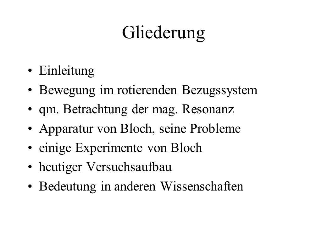 Gliederung Einleitung Bewegung im rotierenden Bezugssystem qm. Betrachtung der mag. Resonanz Apparatur von Bloch, seine Probleme einige Experimente vo