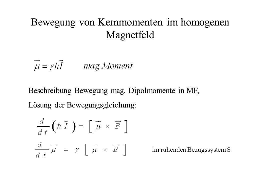 Bewegung von Kernmomenten im homogenen Magnetfeld Beschreibung Bewegung mag. Dipolmomente in MF, Lösung der Bewegungsgleichung: im ruhenden Bezugssyst