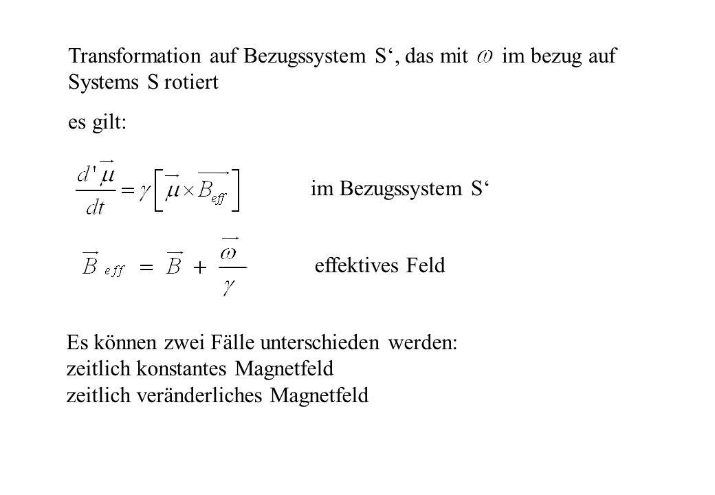 Transformation auf Bezugssystem S, das mit im bezug auf Systems S rotiert es gilt: effektives Feld im Bezugssystem S Es können zwei Fälle unterschiede