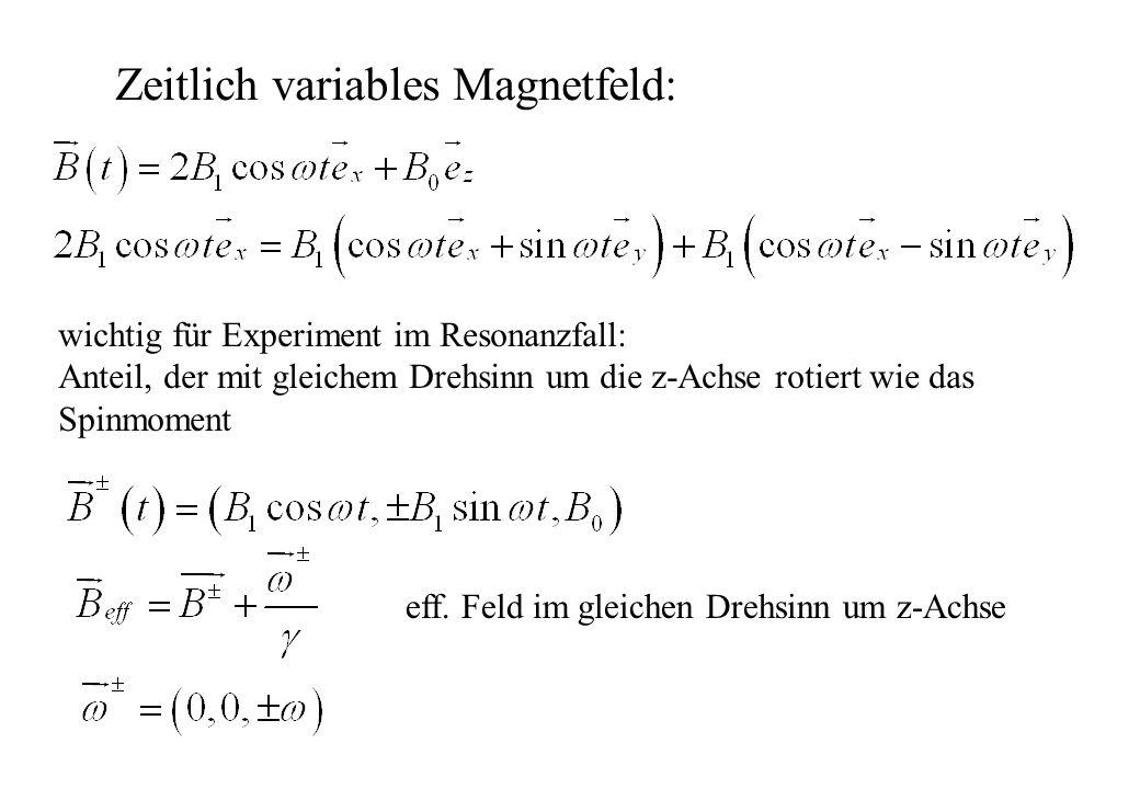 Zeitlich variables Magnetfeld: wichtig für Experiment im Resonanzfall: Anteil, der mit gleichem Drehsinn um die z-Achse rotiert wie das Spinmoment eff