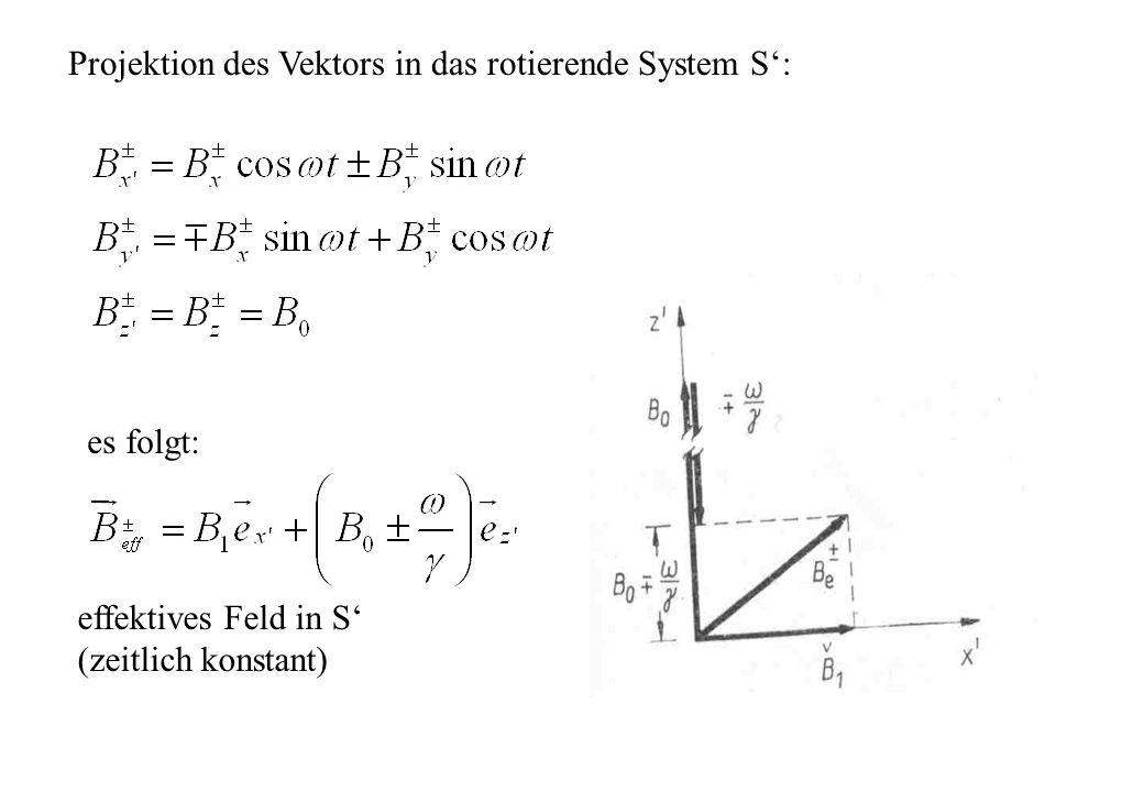 Projektion des Vektors in das rotierende System S: effektives Feld in S (zeitlich konstant) es folgt:
