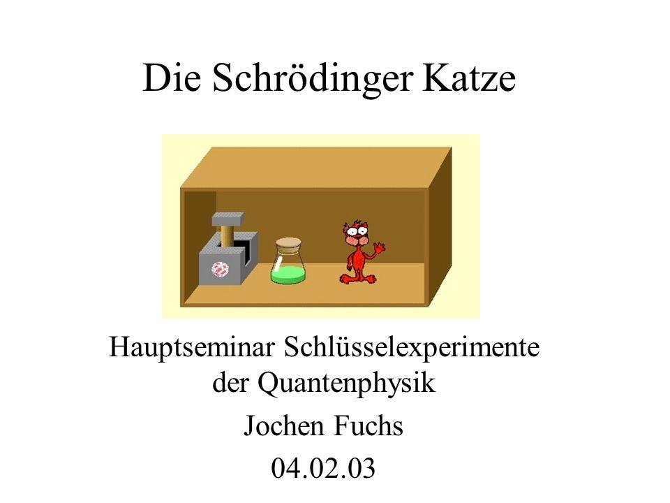 Die Schrödinger Katze Hauptseminar Schlüsselexperimente der Quantenphysik Jochen Fuchs 04.02.03