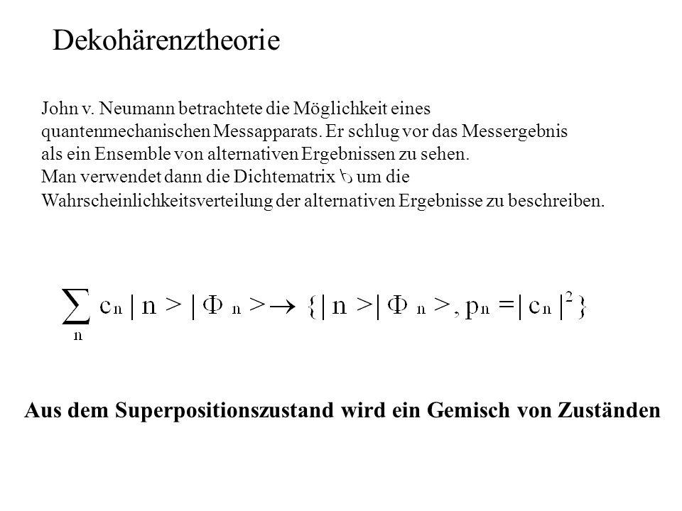 Dekohärenztheorie John v. Neumann betrachtete die Möglichkeit eines quantenmechanischen Messapparats. Er schlug vor das Messergebnis als ein Ensemble
