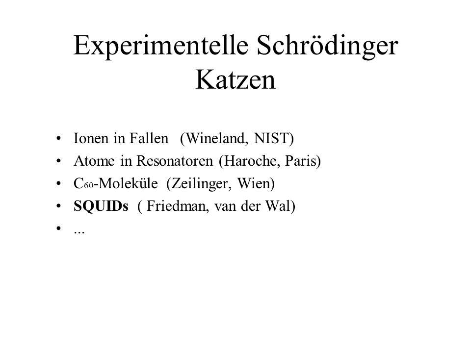 Experimentelle Schrödinger Katzen Ionen in Fallen (Wineland, NIST) Atome in Resonatoren (Haroche, Paris) C 60 -Moleküle (Zeilinger, Wien) SQUIDs ( Fri