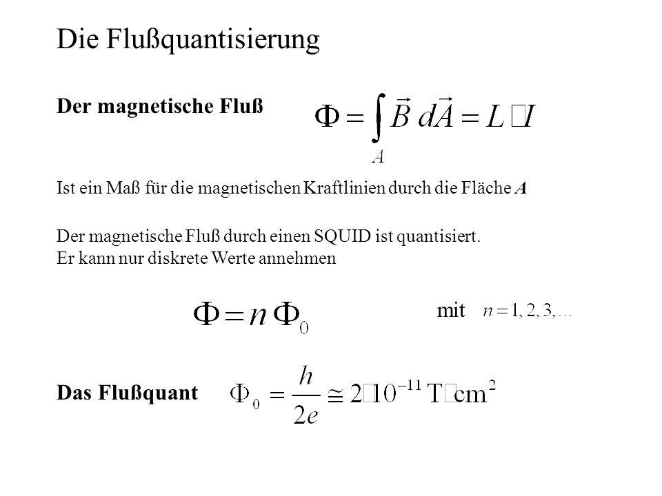 Der magnetische Fluß durch einen SQUID ist quantisiert. Er kann nur diskrete Werte annehmen Die Flußquantisierung mit Der magnetische Fluß Ist ein Maß