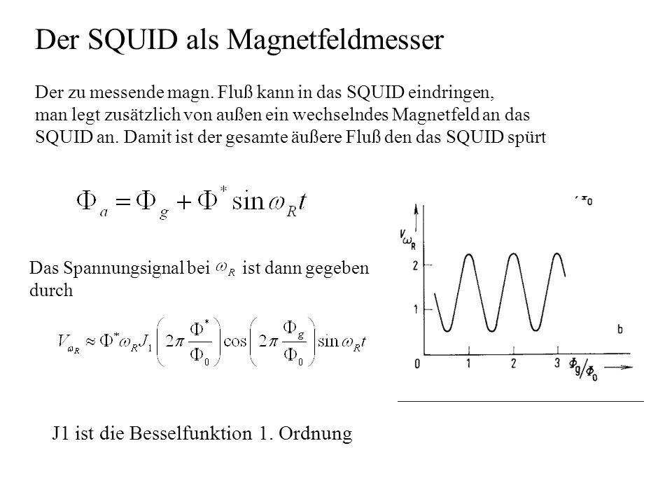 Der zu messende magn. Fluß kann in das SQUID eindringen, man legt zusätzlich von außen ein wechselndes Magnetfeld an das SQUID an. Damit ist der gesam