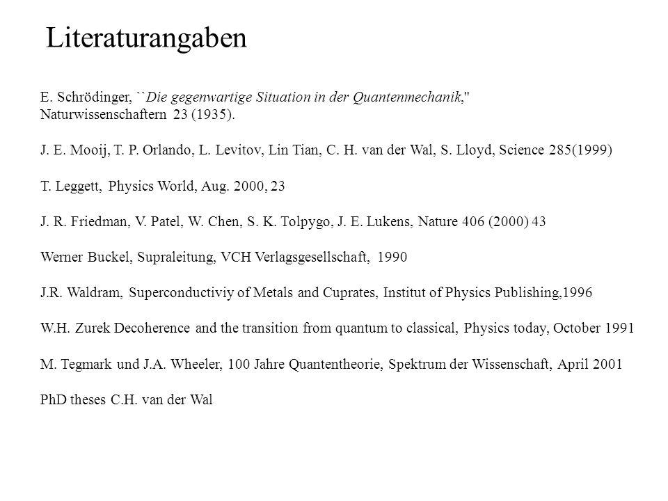 E. Schrödinger, ``Die gegenwartige Situation in der Quantenmechanik,'' Naturwissenschaftern 23 (1935). J. E. Mooij, T. P. Orlando, L. Levitov, Lin Tia