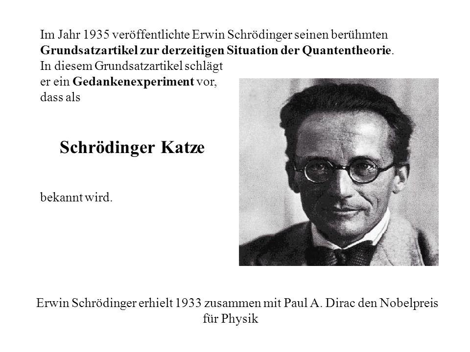 Im Jahr 1935 veröffentlichte Erwin Schrödinger seinen berühmten Grundsatzartikel zur derzeitigen Situation der Quantentheorie. In diesem Grundsatzarti