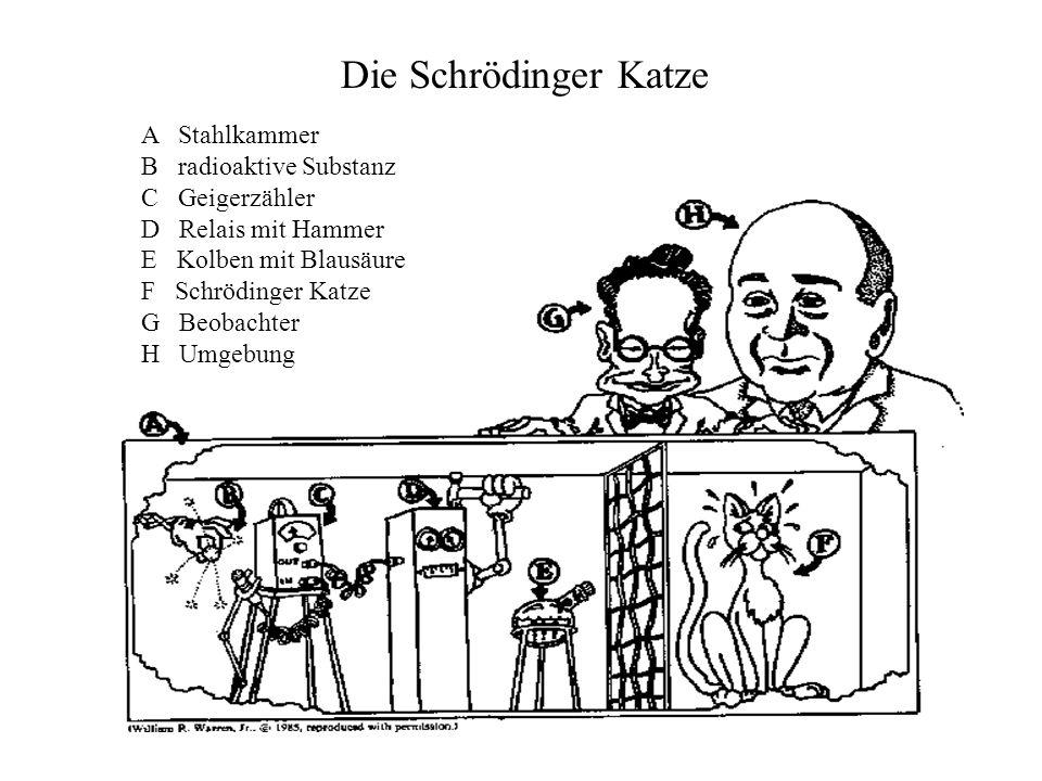 Die Schrödinger Katze A Stahlkammer B radioaktive Substanz C Geigerzähler D Relais mit Hammer E Kolben mit Blausäure F Schrödinger Katze G Beobachter