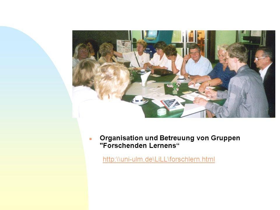 n Organisation und Betreuung von Gruppen